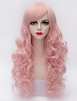 Charming Women Long Wavy Full Bang Hair Multi Pink Heat-resistant Synthetic European Lolita Fashion Wig
