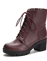 Women's Shoes Chunky Heel Fashion Boots/Round Toe Boots Dress Black/Brown/Gray/Burgundy