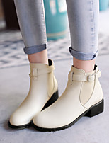 Women's Shoes Chunky Heel Fashion Boots/Motorcycle Boots/Round Toe Boots Dress/Casual Black/Yellow/Beige