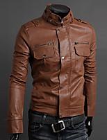 Yoonheel Men's Long Sleeve Jacket,PU Casual / Work Pure