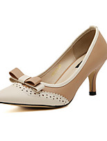 Women's Shoes Leatherette Kitten Heel Heels Pumps/Heels Outdoor/Dress Black/Beige