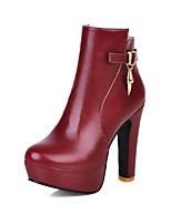 Chaussures Femme Similicuir Gros Talon Bottine/Bout Arrondi Bottes Habillé Noir/Jaune/Rouge/Blanc
