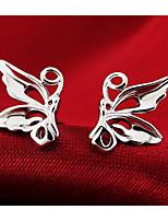 S925 Fine Silver Butterfly Shape Stud Earrings (9mm*8mm)