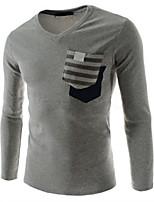 Men's Long Sleeve T-Shirt , Cotton Blend Casual