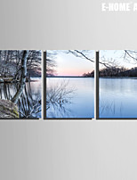 E-HOME® Stretched Canvas Art Lake Scenery Decoration Painting Set of 3