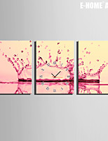 Rettangolare Moderno/Contemporaneo Orologio da parete , Altro Tela35x50cm(14inchx20inch)x3pcs/40x60cm(16inchx24inch)x3pcs/