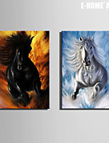e-Home® gespannen doek zijt de galopperend paard decoratieve schilderkunst set van 2