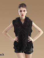Fur Vests Vests Sleeveless Rabbit Fur Black/Pink/Yellow/Coffee/Gray/Blue