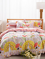 Peacock / Floral Cotton Bedding Set Of 4pcs Double side patterns