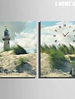 Rettangolare Moderno/Contemporaneo Orologio da parete , Altro Tela35x50cm(14inchx20inch)x2pcs/40x60cm(16inchx24inch)x2pcs/