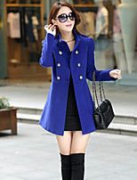 Women's Blue/Red/Green Coat , Casual Long Sleeve Others