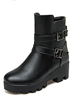 Women's Shoes Chunky Heel Fashion Boots/Motorcycle Boots/Round Toe Boots Dress/Casual Black/Brown/Beige