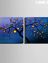 E-HOME® Stretched Canvas Art Abstract Tree Decorative Painting  Set of 2