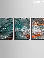 E-HOME® Frozen Trees Clock in Canvas 3pcs