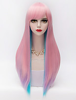 harajuku la moda bicolor azul pelo largo explosión llena recta&gradiente de color rosa lolita sintética Mujeres del partido de la