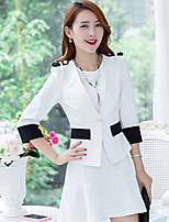 Women's Solid White / Black Blazer , Casual V Neck Long Sleeve