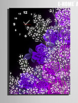 E-HOME® Purple Flowers Clock in Canvas 1pcs
