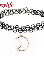 Cozylife Girls Black Stretch Gothic Tattoo Henna Collar Choker Necklace Elastic with Moon Pendant