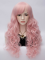 Sexy Women Long Curly Hair With Side Bang Synthetic Pink Lolita Wig