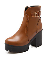 Women's Shoes Leatherette Chunky Heel / Round Toe Boots Outdoor / Office & Career / Casual Black / Yellow / Red