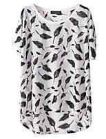 Women's Round Neck T-shirt , Chiffon Short Sleeve