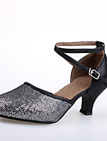 Customizable Women's Modern Leatherette Paillette Heels Indoor Customized Heel Blue Red Black/Silver Black/Gold Gold 2