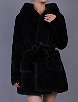 Women's Plus Size / Casual/Daily / Party/Cocktail Sexy / Simple Fur Coat,Solid Stand Long Sleeve Fall /