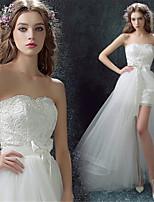 Vestido de Boda - Blanco Corte Columna Asimétrica - Sweetheart Encaje