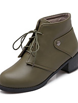 Women's Shoes Leatherette Chunky Heel Heels/ Round Toe Boots Outdoor / Office & Career / Casual Black / Yellow / Green