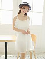 Women's Sexy/Casual Micro Elastic Sleeveless Above Knee Dress (Chiffon)