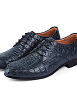 Men's Shoes Office & Career/Casual/Party & Evening Leather Oxfords Black/Blue/Brown/Khaki
