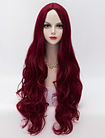 European Style Long Loose Wavy U Part Hair Dark Red Synthetic Vogue Party Wig