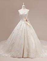 웨딩 드레스 - 아이보리(색상은 모니터에 따라 다를 수 있음) A 라인 쿼트 트레인 스윗하트 튤