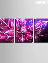 E-HOME® Purple Shiny Flower Clock in Canvas 3pcs