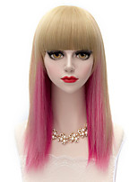 Harajuku Medium Long Straight Hair Full Bang Flaxen Gradient Red Lolita Fashion Party Wig