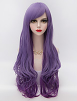 Harajuku Fashion Long Natural Wavy Side Bang Hair Purple Gradient Synthetic Lolita Party  Wig For Charming Women