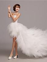 웨딩 드레스 - 아이보리(색상은 모니터에 따라 다를 수 있음) A 라인 비대칭 스윗하트 튤