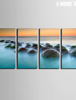E-HOME® Stretched Canvas Art The Big Rocks in The Sea Decoration Painting Set of 4