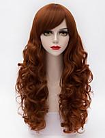 Fashion Long Layered Natural Wavy Side Bang Hair Orange&Brown Synthetic European Lolita Women Wig