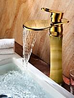 Shengbaier Bathroom Sink Faucet Golden Royal Design Waterfall Brass High Grade Faucet (Ti-PVD Finish)
