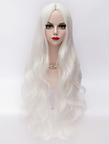 80cm Long Loose Wavy U Part Hair White Heat-resistant Synthetic European Style Fashion Party Wig