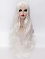 80cm de long lâche ondulée u partie des cheveux blancs perruque synthétique résistant à la chaleur du parti de la mode de style européen