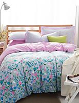 Blue / Pink Floral Bedding Set Of 4pcs Four Seasons Use
