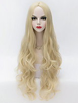 European Style Long Loose Wavy U Part Hair Light Blonde Synthetic Party Wig