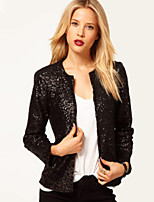 Women's Europe Fashional Round Collar Long Sleeve Sequins Jackets