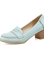 Women's Shoes PU Summer / Fall Comfort / Round Toe Heels Office & Career / Casual Chunky Heel  Blue / Pink / Beige