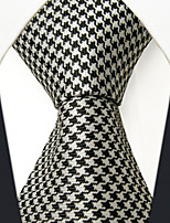 SXL9  Classic Dress Men's Neckties Black White Houndstooth 100% Silk Business Handmade