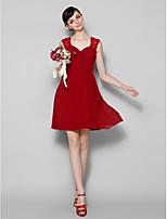 hjemkomst kort / mini chiffon / blonde brudepige kjole - kongeblå a-line juvel