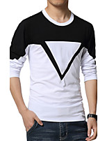 Men's Fashion Print Spell Slim Long Sleeved T-Shirts