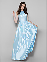 Floor-length Charmeuse Bridesmaid Dress - Sky Blue Plus Sizes / Petite Sheath/Column Jewel